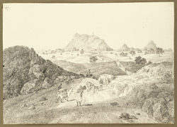 View of the Silwar hill with signalling tower on the road between Digwar and Hazaribagh (Bihar). 13 February 1823